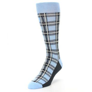 Image of Blue Charcoal Plaid Men's Dress Socks (side-2-front-07)