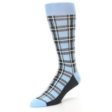 Image of Blue Charcoal Plaid Men's Dress Socks (side-2-front-08)