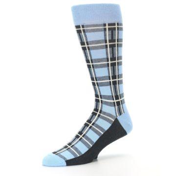 Image of Blue Charcoal Plaid Men's Dress Socks (side-2-09)