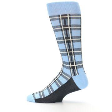 Image of Blue Charcoal Plaid Men's Dress Socks (side-2-12)