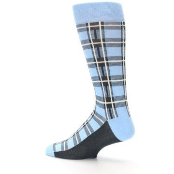 Image of Blue Charcoal Plaid Men's Dress Socks (side-2-13)