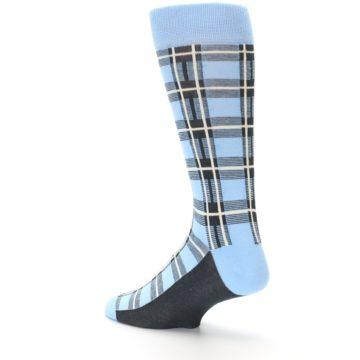 Image of Blue Charcoal Plaid Men's Dress Socks (side-2-back-14)