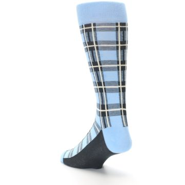 Image of Blue Charcoal Plaid Men's Dress Socks (side-2-back-15)