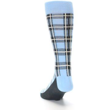 Image of Blue Charcoal Plaid Men's Dress Socks (side-2-back-16)