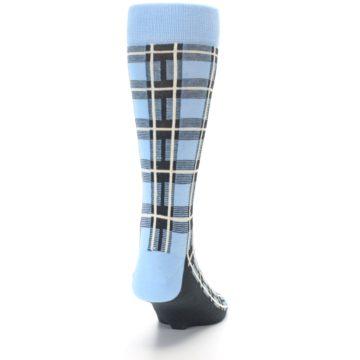 Image of Blue Charcoal Plaid Men's Dress Socks (back-19)