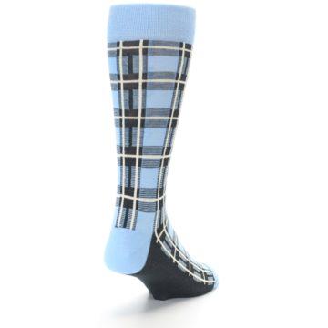 Image of Blue Charcoal Plaid Men's Dress Socks (side-1-back-20)