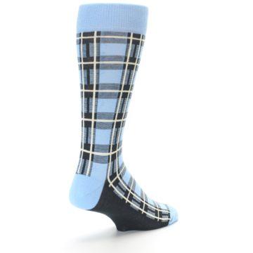 Image of Blue Charcoal Plaid Men's Dress Socks (side-1-back-21)