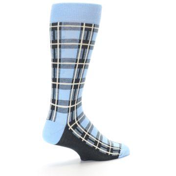 Image of Blue Charcoal Plaid Men's Dress Socks (side-1-back-22)