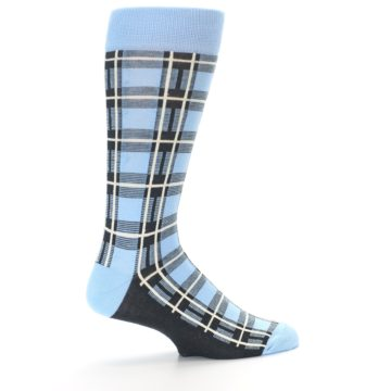 Image of Blue Charcoal Plaid Men's Dress Socks (side-1-23)