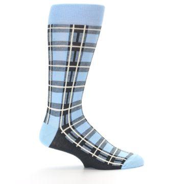 Image of Blue Charcoal Plaid Men's Dress Socks (side-1-24)