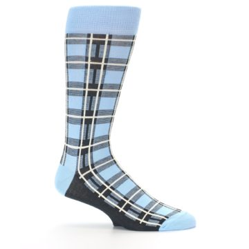 Image of Blue Charcoal Plaid Men's Dress Socks (side-1-25)
