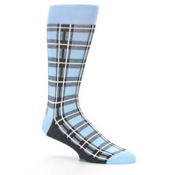 Image of Blue Charcoal Plaid Men's Dress Socks (side-1-26)