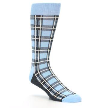 Image of Blue Charcoal Plaid Men's Dress Socks (side-1-27)