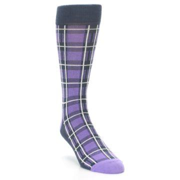 Image of Purple Plaid Men's Dress Socks (side-1-front-02)