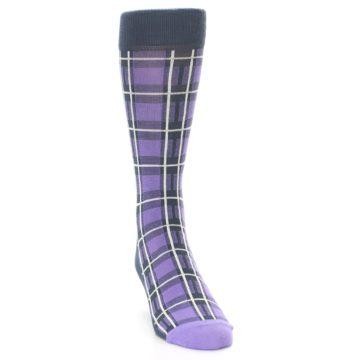Image of Purple Plaid Men's Dress Socks (side-1-front-03)