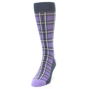 Image of Purple Plaid Men's Dress Socks (side-2-front-06)