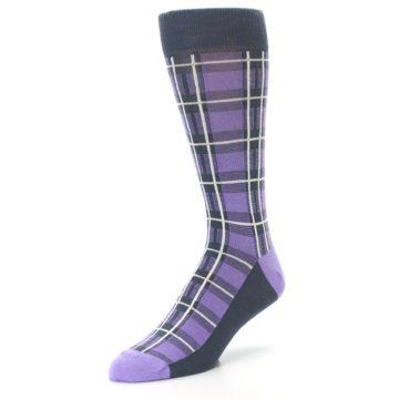 Image of Purple Plaid Men's Dress Socks (side-2-front-08)