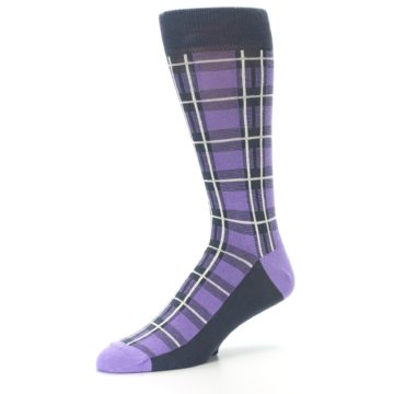 Image of Purple Plaid Men's Dress Socks (side-2-09)