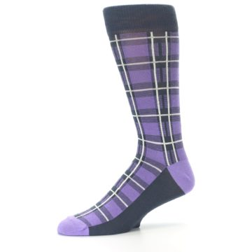 Image of Purple Plaid Men's Dress Socks (side-2-10)