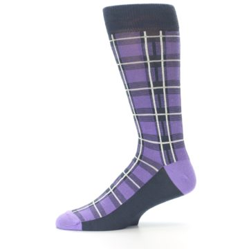 Image of Purple Plaid Men's Dress Socks (side-2-11)