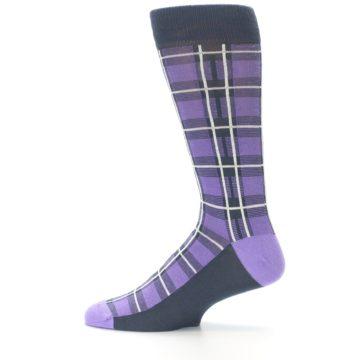 Image of Purple Plaid Men's Dress Socks (side-2-12)