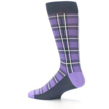 Image of Purple Plaid Men's Dress Socks (side-2-13)