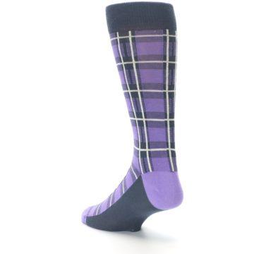 Image of Purple Plaid Men's Dress Socks (side-2-back-15)