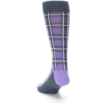 Image of Purple Plaid Men's Dress Socks (side-2-back-16)