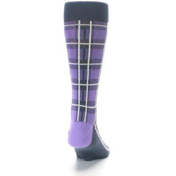 Image of Purple Plaid Men's Dress Socks (back-19)