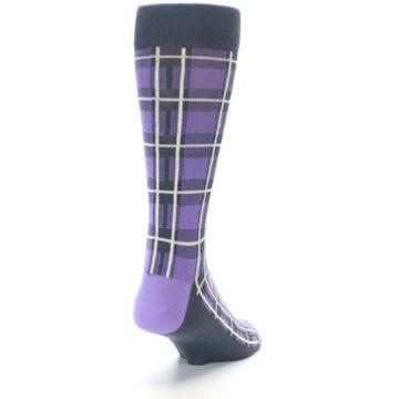 Image of Purple Plaid Men's Dress Socks (side-1-back-20)