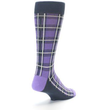Image of Purple Plaid Men's Dress Socks (side-1-back-21)