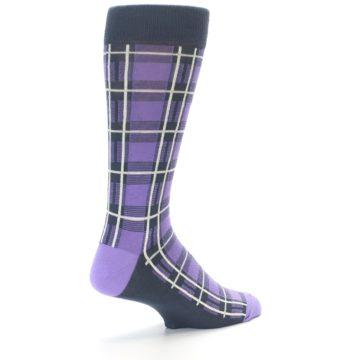 Image of Purple Plaid Men's Dress Socks (side-1-back-22)