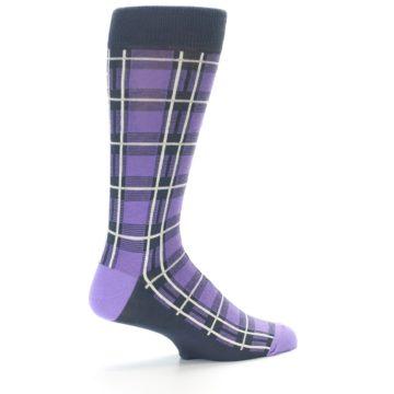 Image of Purple Plaid Men's Dress Socks (side-1-23)