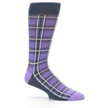 Image of Purple Plaid Men's Dress Socks (side-1-25)