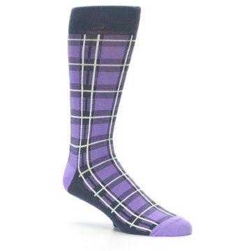 Image of Purple Plaid Men's Dress Socks (side-1-26)