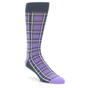 Image of Purple Plaid Men's Dress Socks (side-1-27)