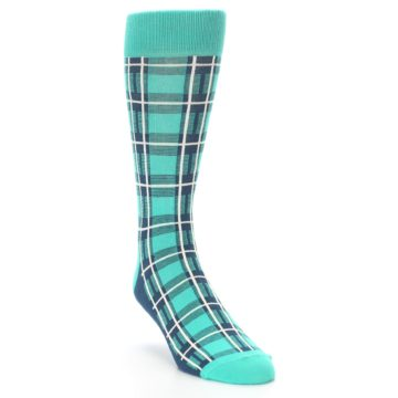 Image of Turquoise Plaid Men's Dress Socks (side-1-front-02)