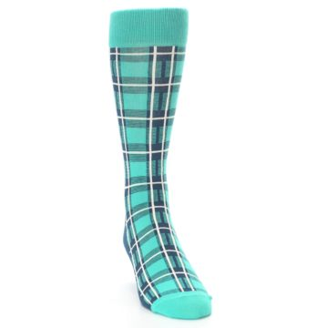 Image of Turquoise Plaid Men's Dress Socks (side-1-front-03)