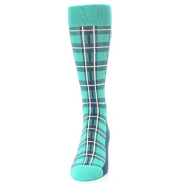 Image of Turquoise Plaid Men's Dress Socks (front-05)