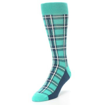 Image of Turquoise Plaid Men's Dress Socks (side-2-front-07)