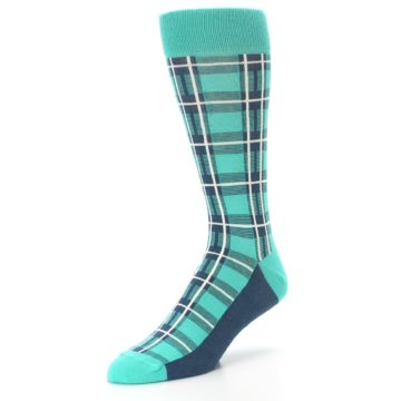 Image of Turquoise Plaid Men's Dress Socks (side-2-front-08)