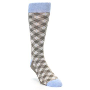Image of Heather Brown Diamond Plaid Men's Dress Socks (side-1-front-02)