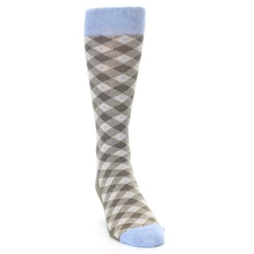 Image of Heather Brown Diamond Plaid Men's Dress Socks (side-1-front-03)