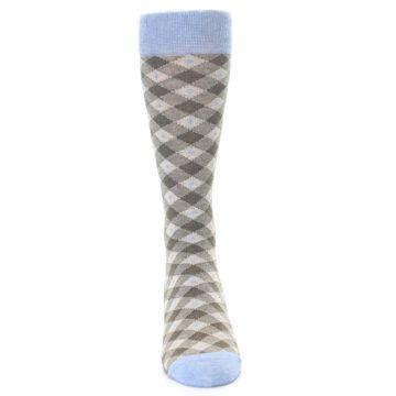 Image of Heather Brown Diamond Plaid Men's Dress Socks (front-04)