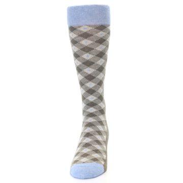 Image of Heather Brown Diamond Plaid Men's Dress Socks (front-05)