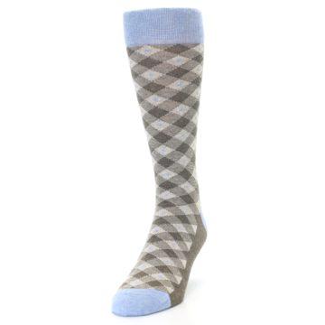 Image of Heather Brown Diamond Plaid Men's Dress Socks (side-2-front-06)