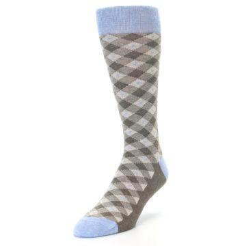Image of Heather Brown Diamond Plaid Men's Dress Socks (side-2-front-07)
