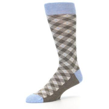 Image of Heather Brown Diamond Plaid Men's Dress Socks (side-2-09)