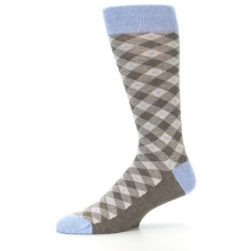 Image of Heather Brown Diamond Plaid Men's Dress Socks (side-2-10)