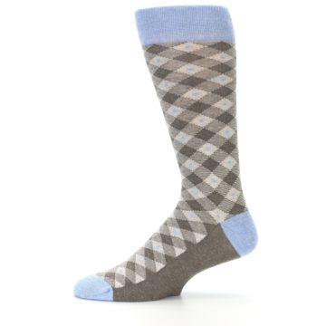 Image of Heather Brown Diamond Plaid Men's Dress Socks (side-2-11)